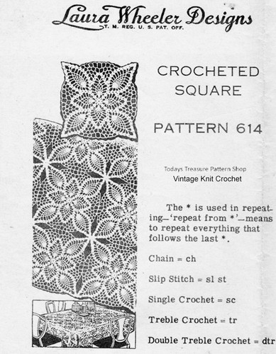 Crochet Pineapple Tablecloth Square Pattern, Mail Order 614