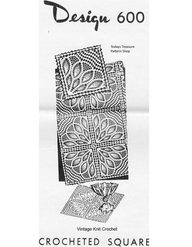 Pineapple Fan Crochet Square Pattern, Mail Order 600