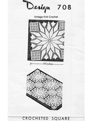 Crochet Flower Square Pattern, Tablecloth Bedspread, Mail Order 708
