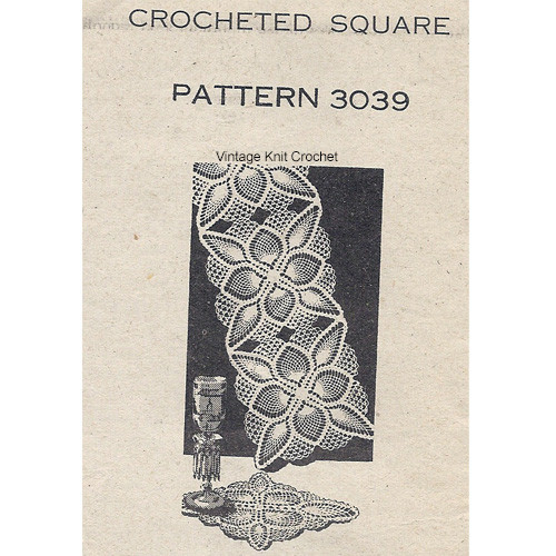 Mail Order 3039, Crochet Pineapple Square Pattern