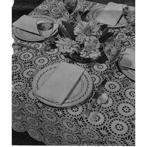 Crochet Spun Sugar Medallion Tablecloth pattern