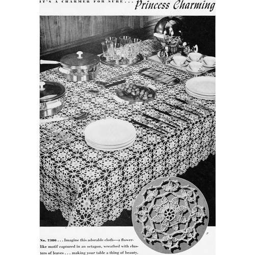Vintage Princess Charming Tablecloth Crochet Pattern