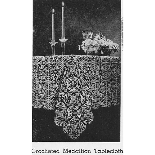 Vintage Medallion Crocheted Tablecloth Pattern from Lily Mills