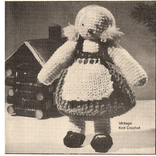 Crochet Doll Pattern, Swiss Girl in Pigtails