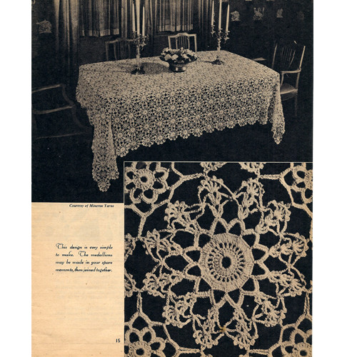 Crochet Floral Lace Medallion Tablecloth Pattern
