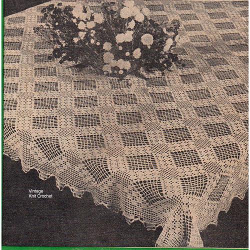 Diamond Filet Crocheted Tablecloth Pattern