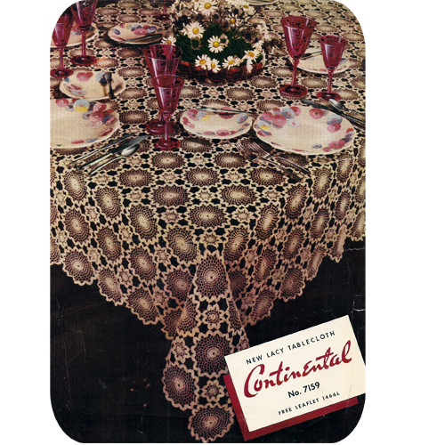 Crochet Continental Tablecloth Pattern, Vintage 1930s