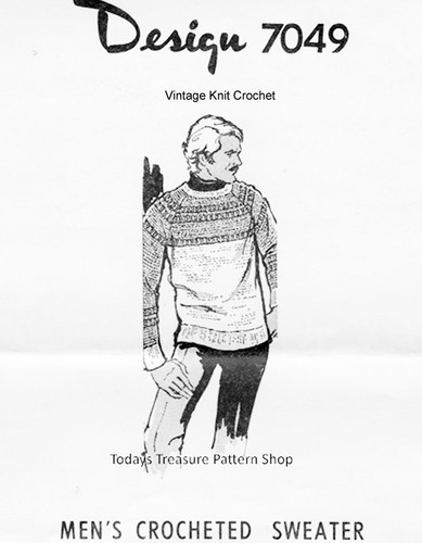 Mens Crocheted Pullover Pattern, Two Tone, Mail Order 7049
