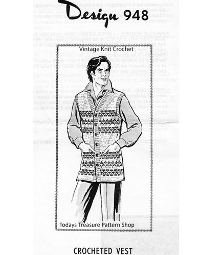 Mans Crocheted Sleeveless Cardigan Pattern, Design 948