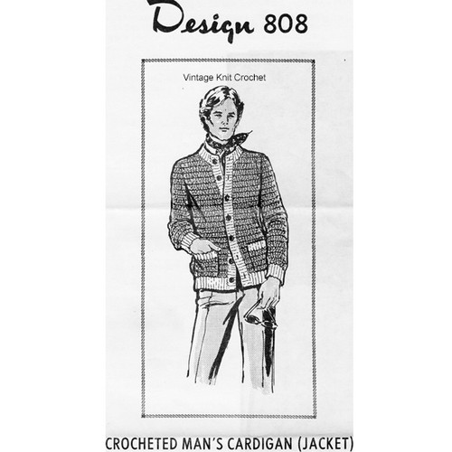 Mans Crochet Cardigan Pattern, Mail Order Design 808