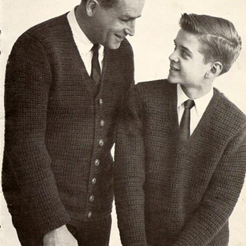 V-Neck Crochet Cardigans Pattern, Vintage 1960s