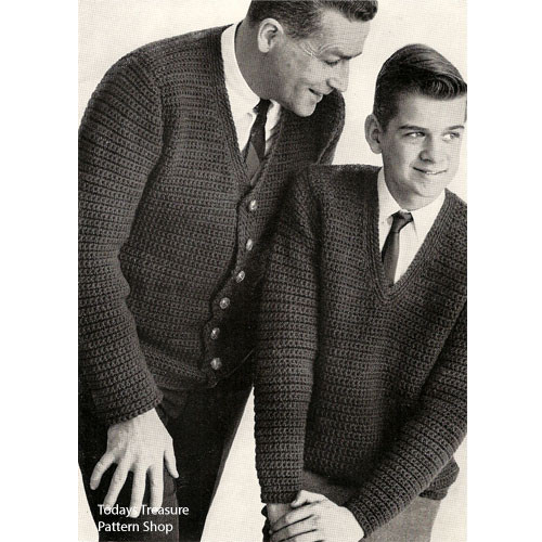 Father Son Vintage Crochet Cardigan Pattern