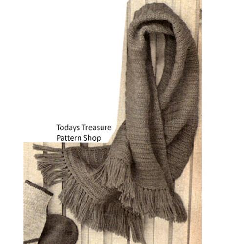 Mans Crochet Scarf Pattern in Afghan Stitch