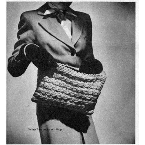 Large Crochet Purse Pattern, Vintage 1940s