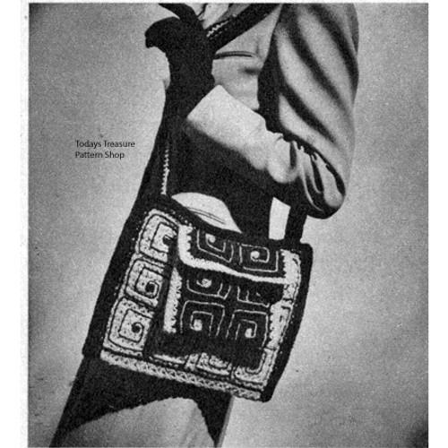 Crochet Granny Square Shoulder Bag Pattern, Vintage 1940s