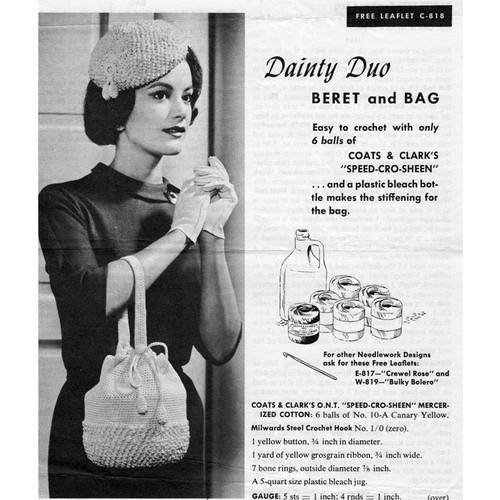 Crochet Bleach Bottle Bag Pattern with Beret Hat
