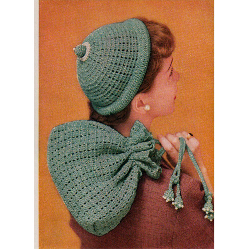 Pearl Trimmed Crochet Hat and Bag Pattern