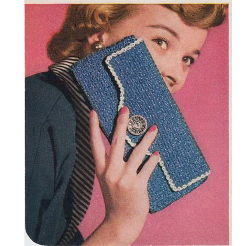 Vintage Crochet Envelope Clutch Bag