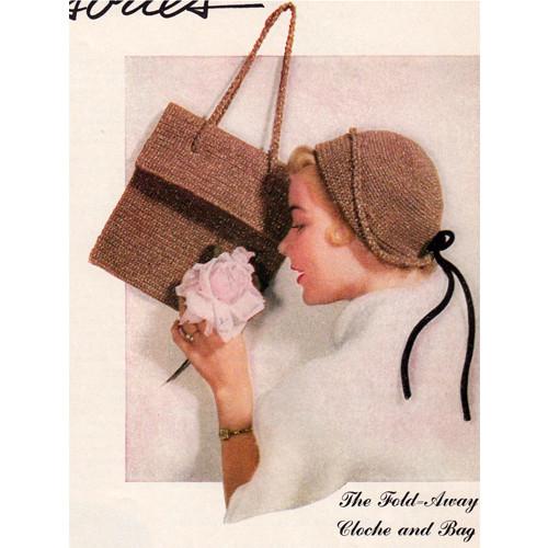 Vintage Crochet Shoulder Bag with Cloche Hat