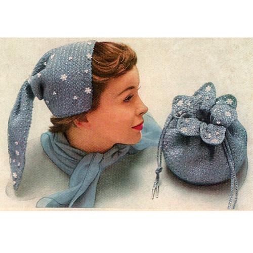 Crochet Bonnet Pattern with Drawstring Bag