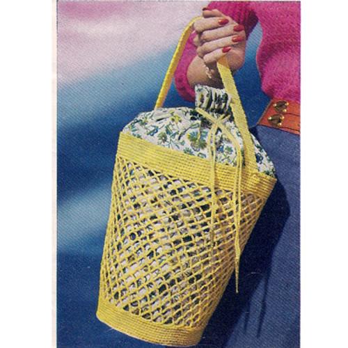 Large Crocheted Market Bag Pattern, Vintage 1960s
