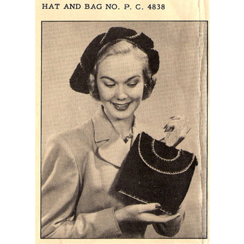 Vintage Crochet Beret & Bag Pattern, National Needlecraft Leaflet