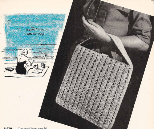 Easy Crochet Carry-All Bag Pattern, Vintage 1950s