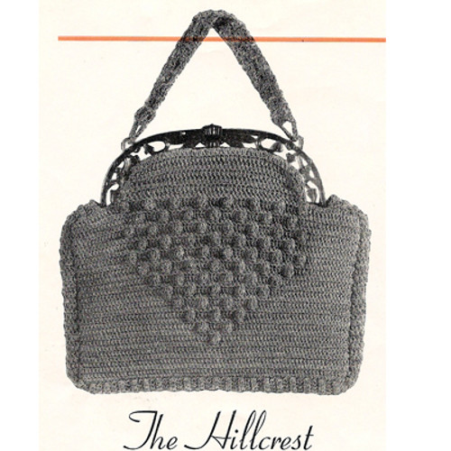 Crocheted Hillcrest Purse Pattern, Vintage 1930s