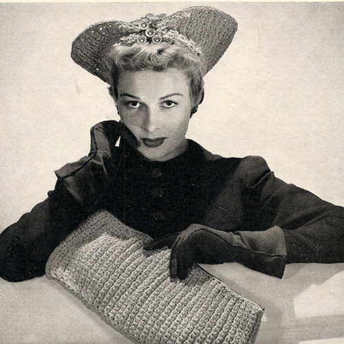 Vintage Crocheted Hat with Clutch Bag Pattern