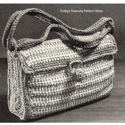 Vintage Striped Satchel Bag Crochet Pattern