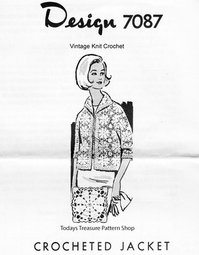Crochet Jacket Pattern, Flower Squares, Mail Order Design 7087