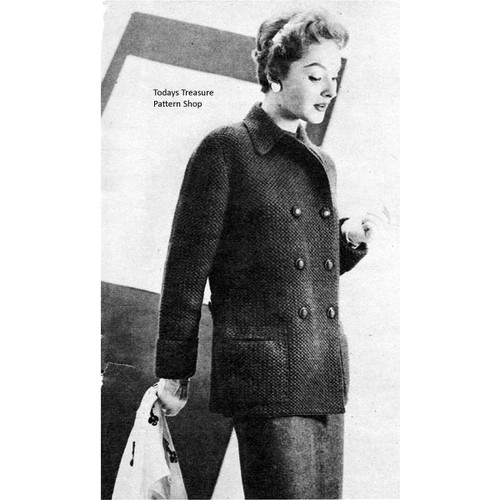 Vintage Double Breasted Coat Crochet Pattern