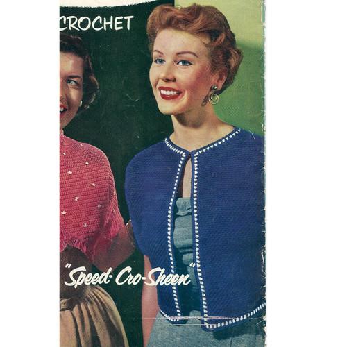 Crochet Short Jacket Pattern, Vintage 1950s