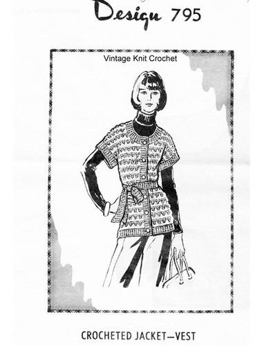 Crocheted Top Pattern, Hip Length, Mail order design 795