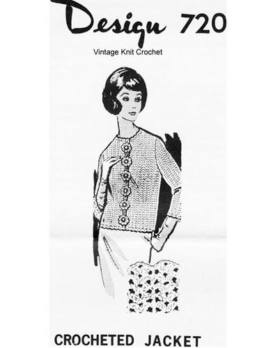 Mail Order Crochet Jacket Pattern, Flower Buttons, Design 720