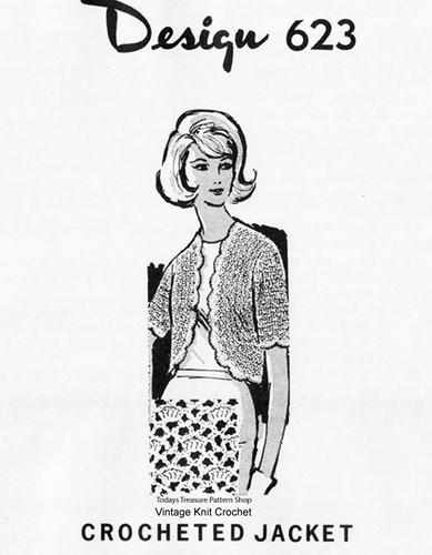 Mail Order Crochet Bolero Pattern Design 623