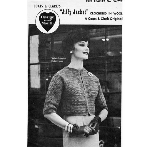 Coats Leaflet W-702, Crochet Jiffy Jacket Pattern