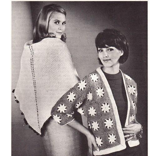 Crochet Flower Jacket & Shawl Pattern Leaflet W-884