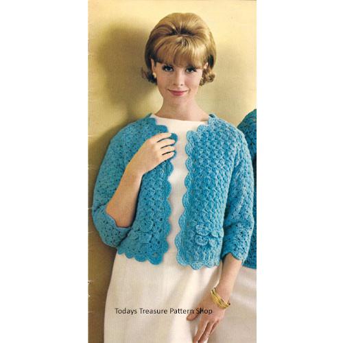 Shell Jacket Crochet Pattern, Vintage 1950s