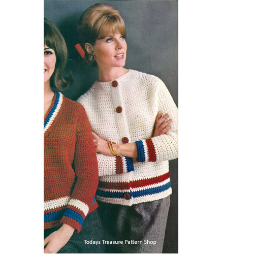 Crochet Raglan Cardigan Pattern with Striped Contrast Bands