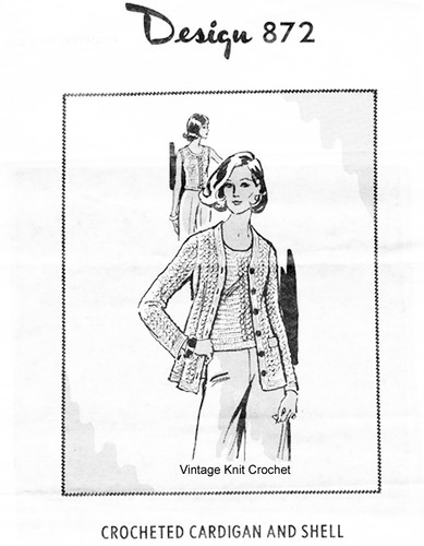 Crocheted Cardigan Pattern, Shell, Mail Order Design 872