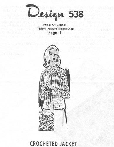Plus Crochet Crochet Pineapple Jacket Pattern, Design 538