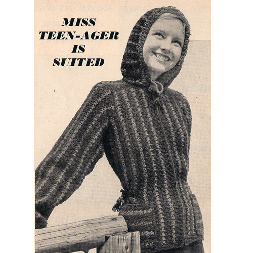 Vintage Crochet Hooded Jacket Pattern with Stripes