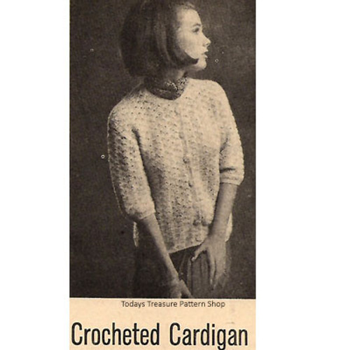 Crochet Vintage Cardigan Pattern with Elbow Length Sleeves