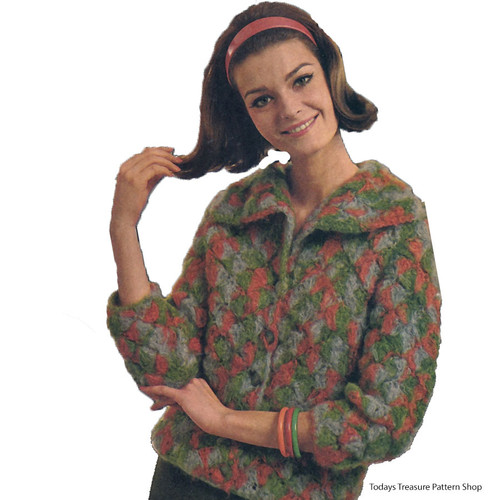 Vintage Tile Jacket Crochet pattern with Larger Collar
