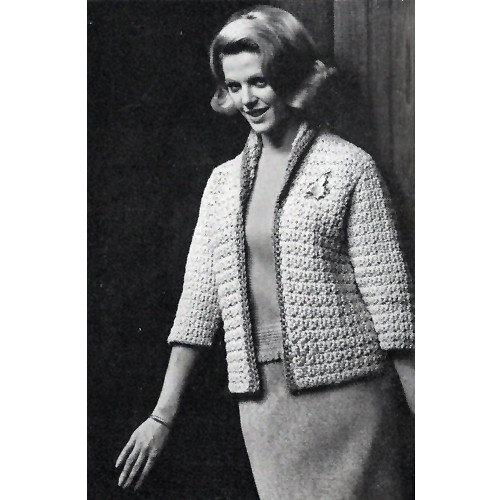 Crocheted Cardigan Pattern with contrast trim