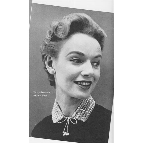 Free Crochet Collar Pattern, Pearl Trimmed