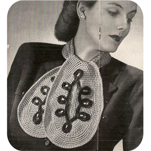 Crochet Ascot Neck Scarf Pattern, Vintage 1950s