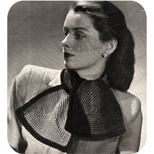 Vintage Crochet Ascot Scarf pattern in Two Colors