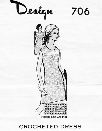 Crocheted Yoked Dress Pattern, Mail Order 706